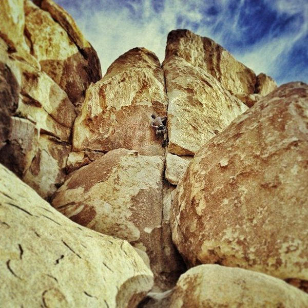 Rock Climbing Photo: Eric/Kenan leading Nurn's Romp in February 2013