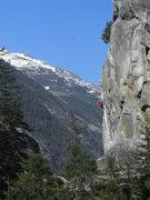 Rock Climbing Photo: Climbing a huge boulder sport route well bolted.