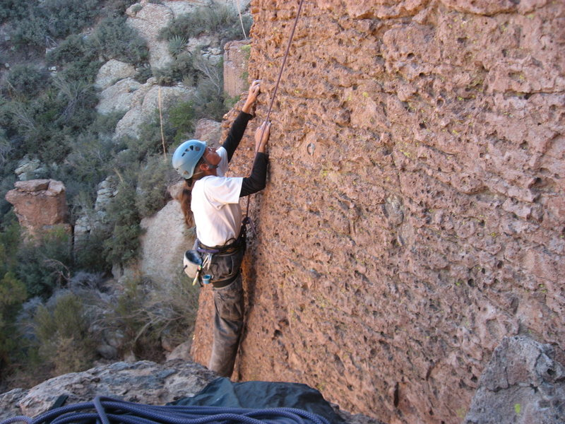 Cindy Gray, enjoying the incredible texture and variety of holds on the lower section of Sendero D'oro.