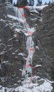 Rock Climbing Photo: Topo of the route in mixed conditions