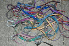 Rock Climbing Photo: Example of cord and tape removed from abseil ancho...