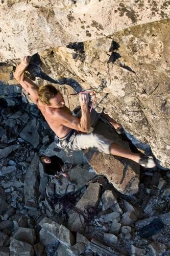 Rock Climbing Photo: Josh Horniak cruxing on Sub Text .12a