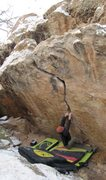 Rock Climbing Photo: Arien at the beginning of the crack on Electric Ma...
