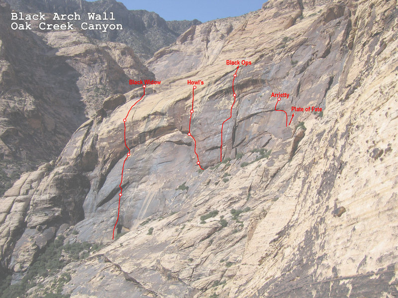 Rock Climbing Photo: Modified photo showing Black Arch Wall routes.