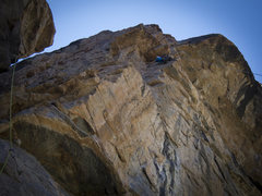 Madaleine Sorkin approaching the large, partially detached block on the crux pitch of Qualgeist (onsight, Sept. 2012). <br /> <br />Photo taken by Kate Rutherford.