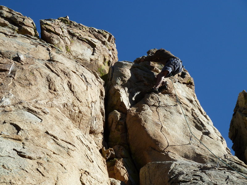 Rock Climbing Photo: D close to the top of One Armed Bandit.