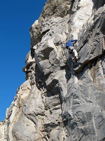 Rock Climbing Photo: The crux of Fueled by Slander (5.11b), Riverside Q...