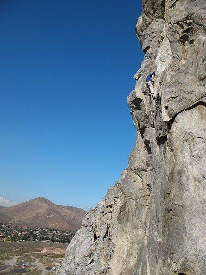 High above it all on Fueled by Slander (5.11b), Riverside Quarry