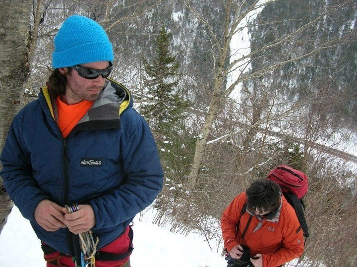 Jon and Joshua gear-up at the bottom of Left Hand Monkey Wrench.
