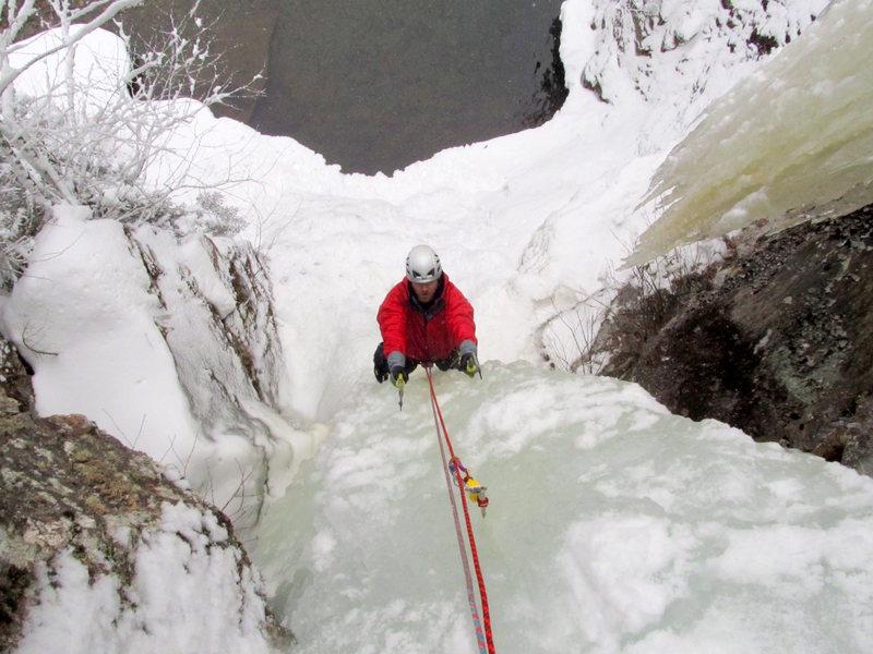 Rock Climbing Photo: Kevin half way up the WI5- pillar