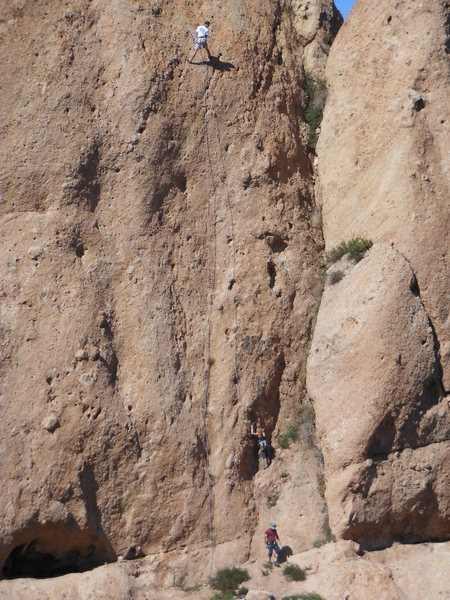 """A party on """"Black Gold,"""" a 5.10 route on the right side of the steep East Face."""