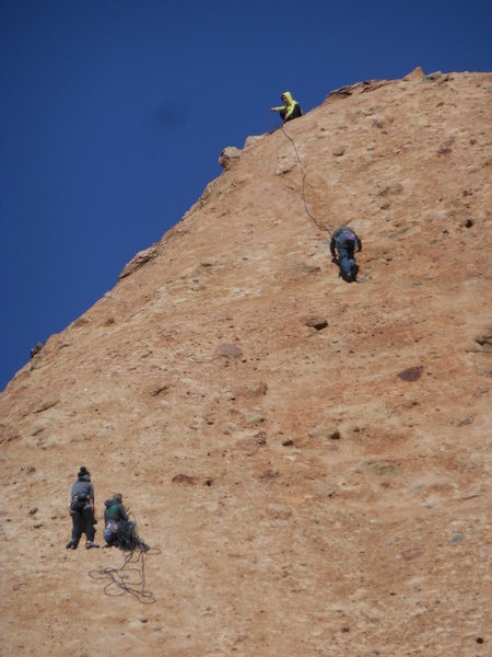 "Climbers nearing the top of Hyperian Slab, via ""Aenean."""