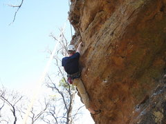 Rock Climbing Photo: Climber on Unprepared 11-, pulling over the roof b...