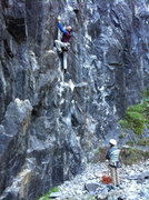 Rock Climbing Photo: Aidan on the first pitch of Chariots on Fire .11b/...
