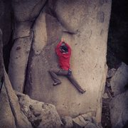 Rock Climbing Photo: Doing laps on a cold day