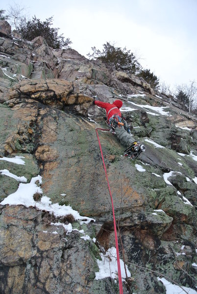 Rock Climbing Photo: Chad on ground-up on-sight mixed lead DLSTP Feb. 2...