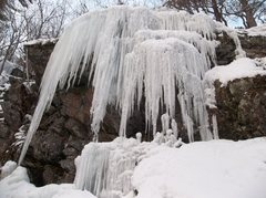 Rock Climbing Photo: The toothy ice curtain.