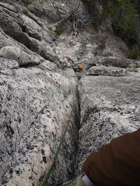 Rock Climbing Photo: Looking down Super Crack at Castle Crags SP (2/18/...