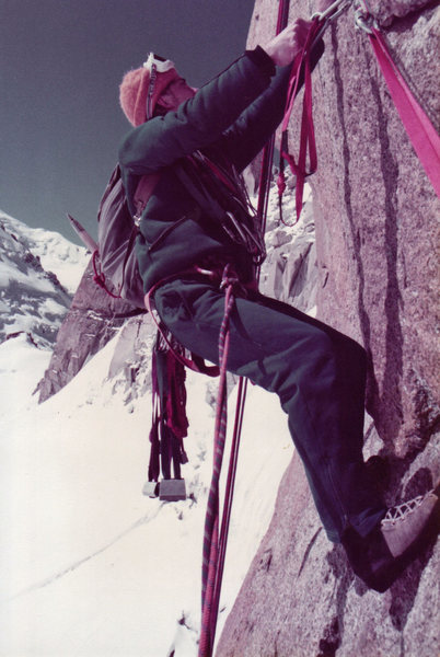 Marc Chrysanthou on the Rebuffat Route, Aiguille du Midi - 1982.