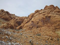 Rock Climbing Photo: This is looking at the dark varnished rock in the ...