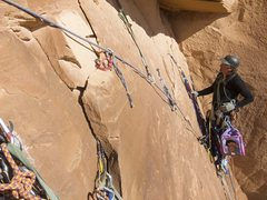 Rock Climbing Photo: Chip contemplating cleaning traverse at end of pit...