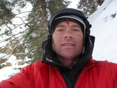 Rock Climbing Photo: Ice to the head at Ouray in 2013.