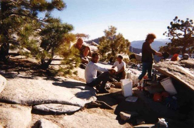 &quot;Camp Burk&quot; El Cap summit party Aug '98<br> after Mescalito