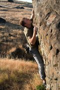 Rock Climbing Photo: In the micro edges of Smoke Pot Row V4