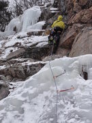 Rock Climbing Photo: Paul Jones leads Rite Flo, WI2+ M3