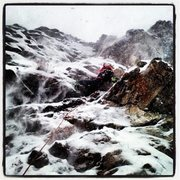 Rock Climbing Photo: The FA of Plan C in full winter conditions.  Photo...