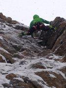"Rock Climbing Photo: C. Snobeck working through the crux of ""Plan ..."