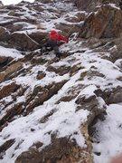 Rock Climbing Photo: C. Belville navigating the bottom slab on the 2nd ...