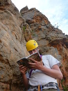 Rock Climbing Photo: Working out the beta for the next pitch. Getting o...