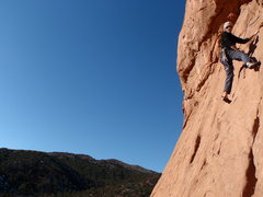 Rock Climbing Photo: Matt cleaning the route....