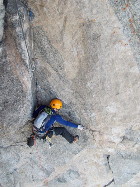 Rock Climbing Photo: Following a pitch on Good Evans.  Photo by Kevin G...