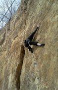 Rock Climbing Photo: Susan finding the jug on Work Ethic; Feb 2011