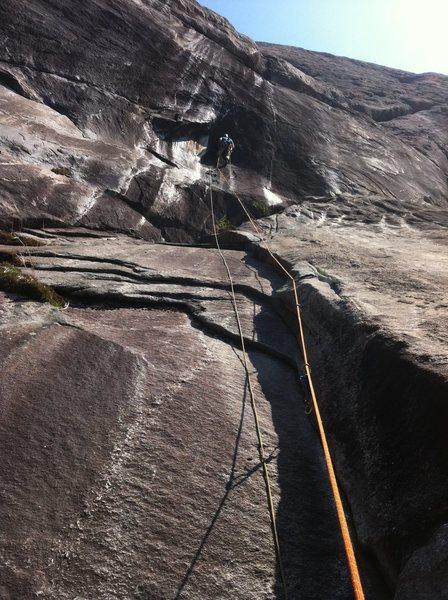 Rock Climbing Photo: Nathan putting up P2