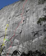 Rock Climbing Photo: Green shows this variation. Yellow shows direct st...