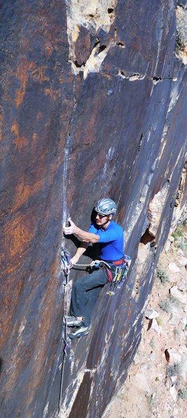 Rock Climbing Photo: Adam Floyd at the crux.