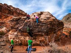 Rock Climbing Photo: Group having fun on Monkey Crack