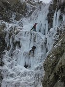 Rock Climbing Photo: Climber approaching the belay at the top of P1. Th...
