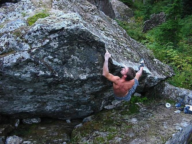Rock Climbing Photo: Joe on a V4 lip traverse.