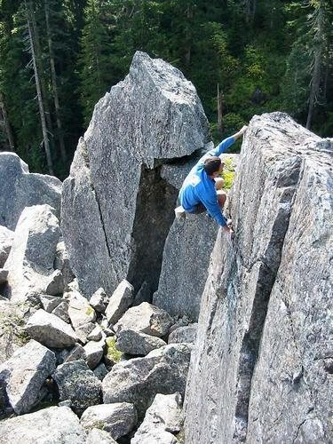 Easy slab on one of the house-sized boulders.