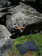 Rock Climbing Photo: Short sloper problem.