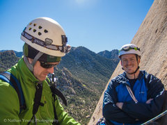 Rock Climbing Photo: The first bolted belay at the start of the second ...
