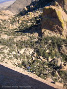Rock Climbing Photo: From about half way up the third pitch.  That bela...