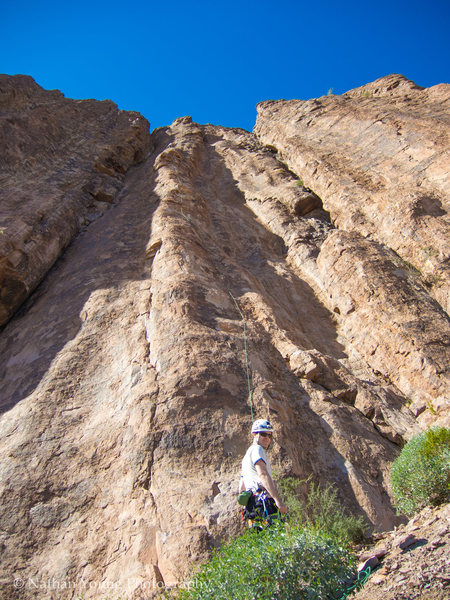 Rock Climbing Photo: RazRez leading the LONG first pitch.  Climbing is ...