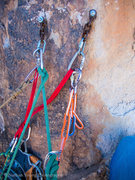 Rock Climbing Photo: Crazy hangers at the belay station.  Need to go ba...