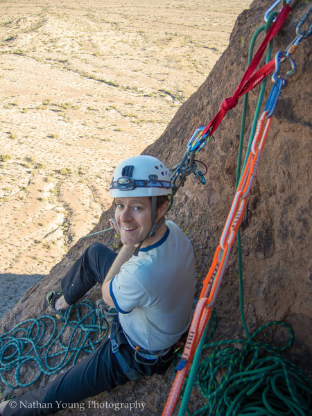 """Third belay station right after the """"Owl Perch"""" traverse."""