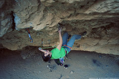 Rock Climbing Photo:  Merrick Ales photo of Ethan taking down the FA